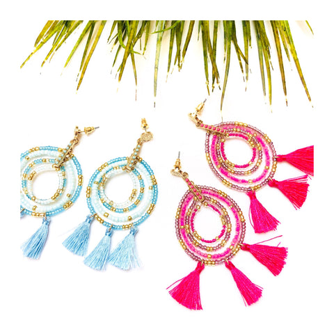 Baby Blue or Hot Pink & Hammered Gold Beaded Teardrop Tassel Earrings