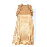Gold Metallic Accordion Ruffle Party Dress