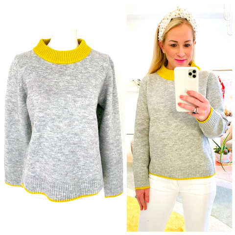 Heather Grey & Bright Yellow Fine Knit Sweater with Ribbed Contrast
