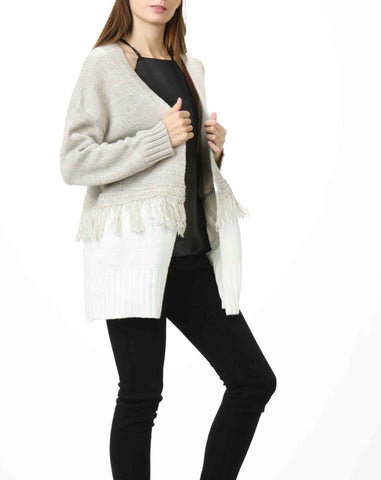 Taupe and Off White Contrast Layer Knit Sweater with Fringe Detail