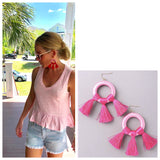 Pink Contrast Fabric Wrapped Circle Tassel Earrings