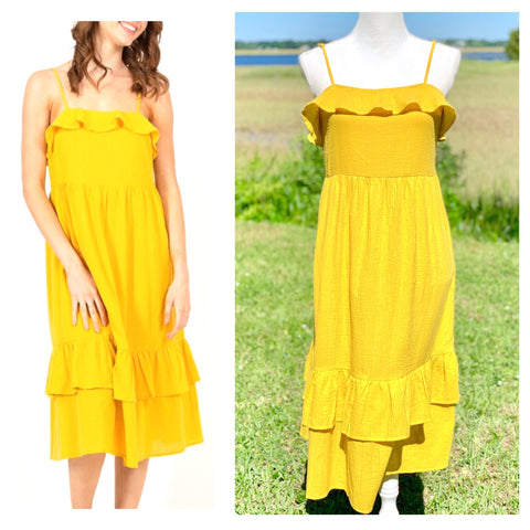 Yellow Tiered Ruffle Hem Midi Dress with Shirred Front