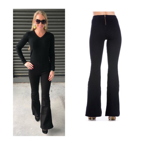 Black Flare Leg High Rise Jeans with Gold Exposed Back Zip