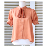 Apricot Accordion Pleat Ruffle Sleeve Button Down Top with Neck Tie