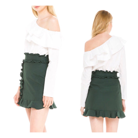 Hunter Green Ruffle Hem High Waisted A-line Skirt