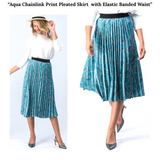 Aqua Pleated Chainlink Print Midi Skirt with Black Banded Elastic Waist