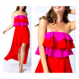Fuchsia & Red Strapless Layered Ruffle Bust High Low Maxi Dress