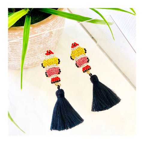 Multicolor Pave CRYSTAL Koi Earrings with Black Silk Tassel
