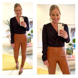 Caramel Black or Champagne Shimmer PU Leather Side Zip Pants with Front Slit