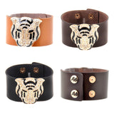 Faux Leather Gold & Rhinestone Tiger Cuff Bracelets