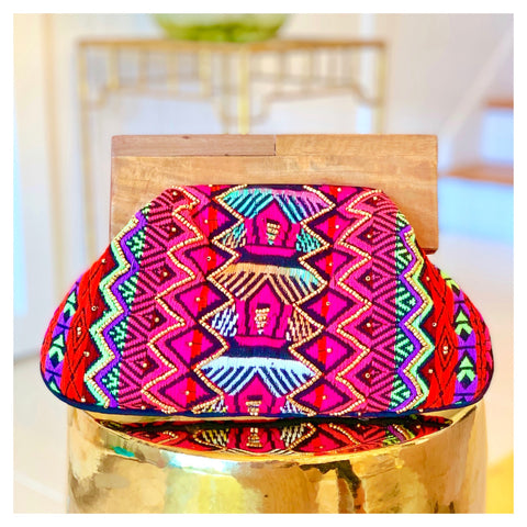 Black Hot Pink  Lavender & Gold Beaded & Embroidered Boho Clutch with Wood Top