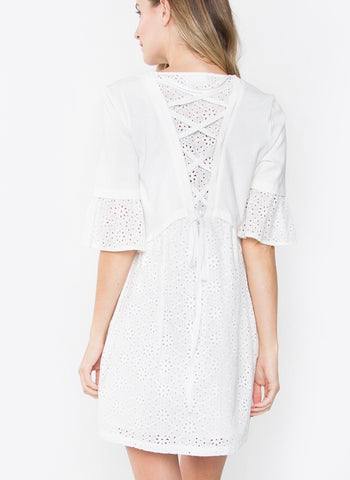 White Bell Sleeve Eyelet Dress with Eyelet Corset Back Detail