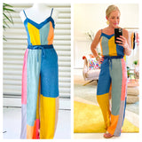 Jewel Tone Colorblocked Satin Wide Leg Pants with Drawstring Waist