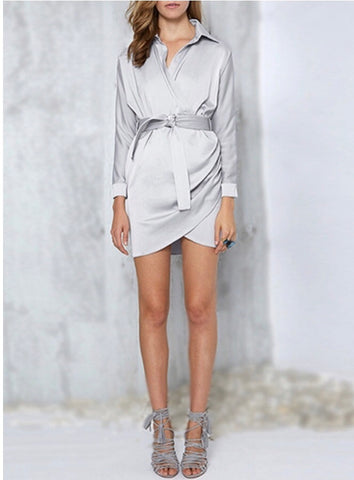 Silky Silver Collared Faux Wrap Dress with Belt Tie