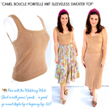 Camel Boucle Pointelle Knit Sleeveless Sweater Top