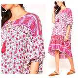 Magenta Lavender & Hot Pink Floral Print Dolman Sleeve High Low Midi Dress with Ruffle Bust Trim