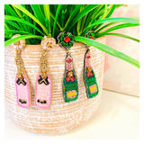 CUSTOM MADE Pink, Green OR Leopard Beaded & Gemstone Champagne Holiday Earrings