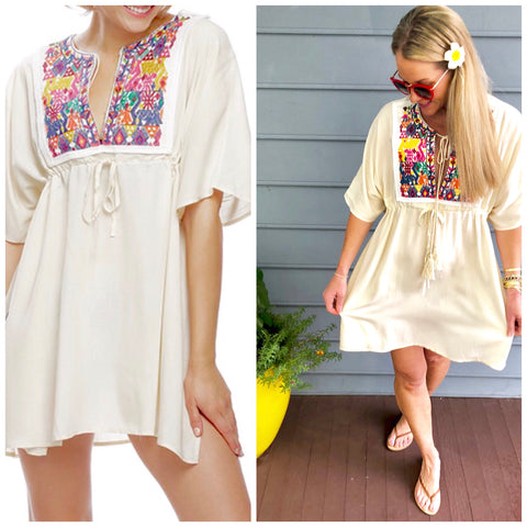 Embroidered Ivory Coverup / Beach Tunic with Tassel Tie & Waist Tie
