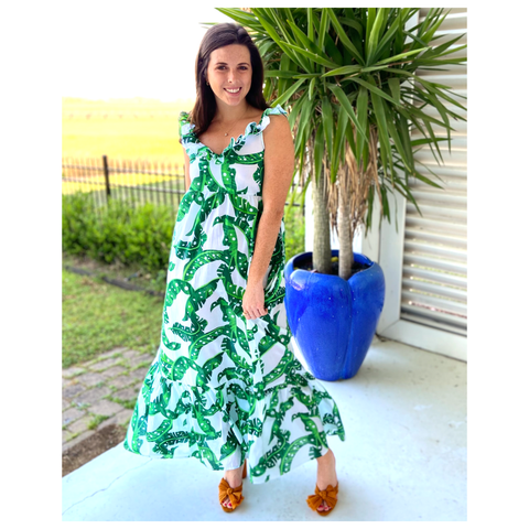 Green Leaf On or Off the Shoulder Gaby Ruffle Dress