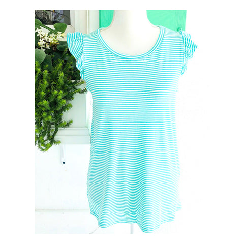 Turquoise & White Stripe Flutter Sleeve Soft Knit Tee