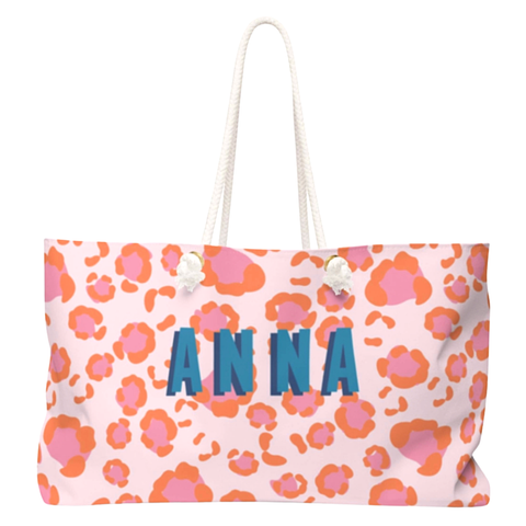 Clairebella Pink & Orange Spots Coated Canvas Travel Bag Customizable with Name, Initials, City or ZIP