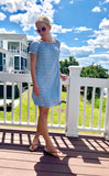 Blue Ivory Stripe On OR Off Shoulder Dress with Ruffle Sleeve