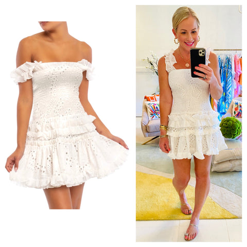 White Smocked Eyelet Dress with Ruched Ruffle Drop Waist & Straps