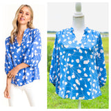 Blue & White Flower Stem Print 3/4 Puff Sleeve Top with Pleated Back