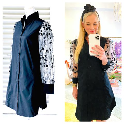 Black Organza Sleeve Button Down Flared Shirt Dress with Puff Sleeves & Pleated Back & Pockets