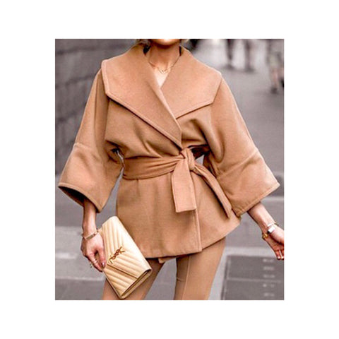 Camel 2/3 Sleeve Tie Waist Jacket with Exaggerated Collar
