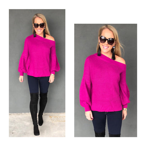 Fuchsia Ribbed Knit Balloon Sleeve Off the Shoulder Sweater
