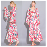 White Red Teal Ruffle Hem Kimono Maxi Dress with Belt Sash
