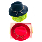Black or Deep Red Wool Hat with Designer Inspired Gold Chain Bow
