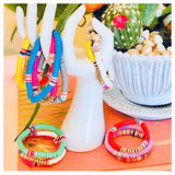 Multicolor Disc Bracelet Stacks (Set of 3) in 5 Color Options