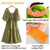 Bright Green & Orange Puff Sleeve BOW BACK Ruffle Hem Dress