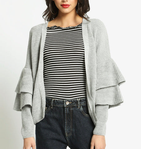 Grey Knit Double Ruffle Sleeve Cardigan