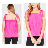 Hot Pink Ruffle Bust Tie Shoulder Top