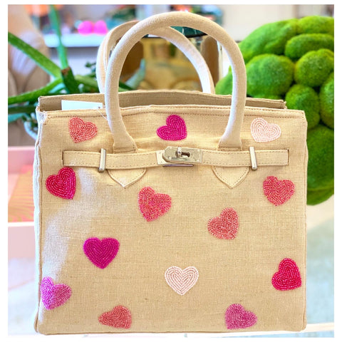 Handmade Beaded Hearts Tiana Canvas BIRKY Bag
