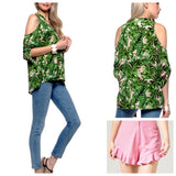 Dorothy Draper Leaf Print Cold Shoulder Button Down Top