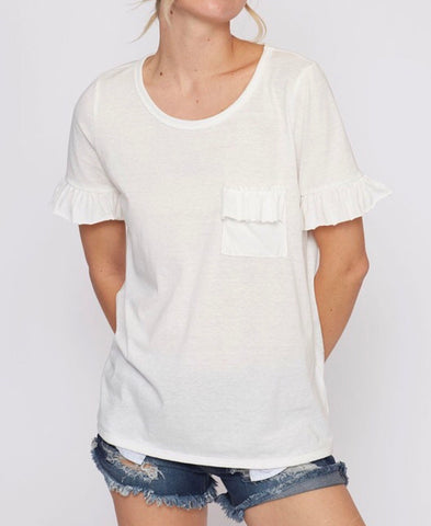 White t-Shirt with Ruffle Sleeves & Chest Ruffle Patch