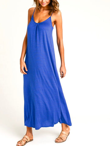 Royal Blue Contrast Stripe Maxi Dress