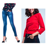 Bright Red Fine Knit Top with Scallop Sleeve & Collar Trim