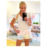 White Subtly Distressed Hem Denim Shorts