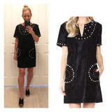 Black Suede Grommet Studded Short Sleeve Shift Dress