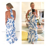 Blue & White Chinoiserie Print Layered Chiffon Halter Maxi Dress with Bow Tie Open Back & Self Tie Belted Waist