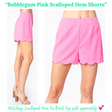 Bubblegum Pink Scalloped Hem Shorts