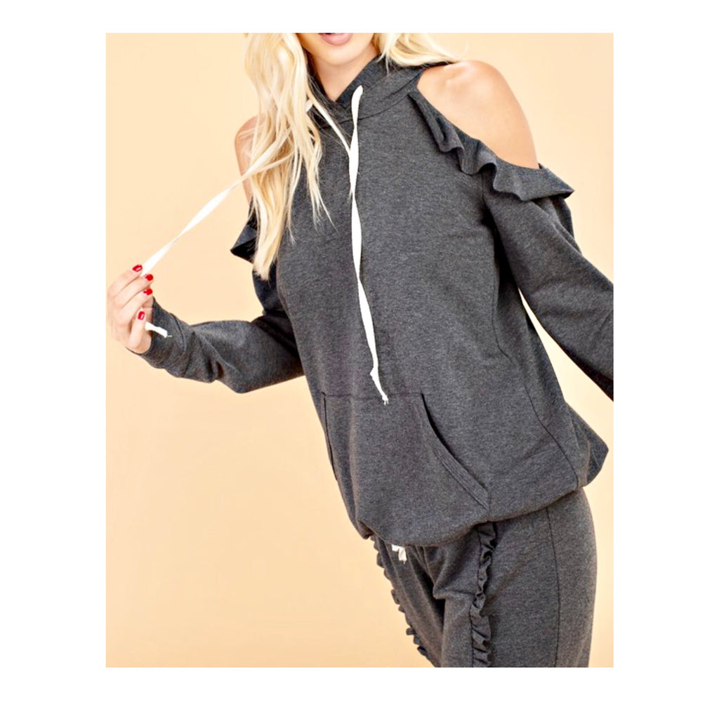 2974c8dc416 ... Charcoal Grey French Terry Cold Shoulder Sweatshirt with Ruffle Trim  (Matching Pants Sold Separately) ...