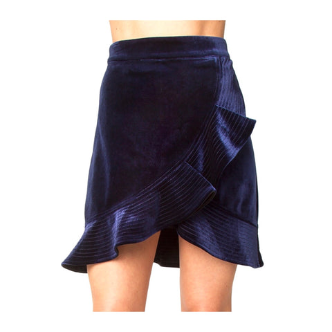 Sapphire Blue Velvet Flounce Skirt with Asymmetrical Embroidered Ruffle