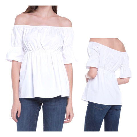 Basic Staple White Off the Shoulder 1/2 Sleeve Top with Cinched Elastic Waist