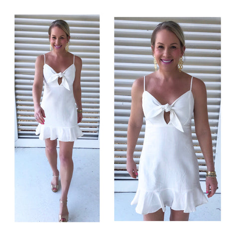 White Linen Bow Front Ruffle Hem Dress